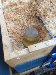 Stödmatning av bina i Clary's Hage